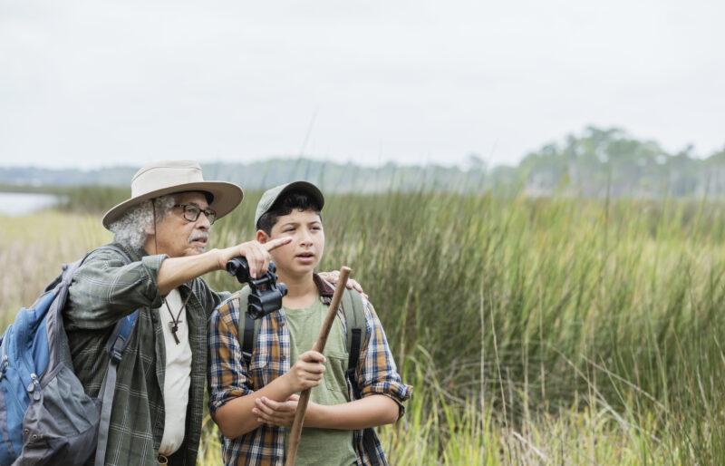 Un homme portant des jumelles se tient dans un milieu humide avec un garçon et lui montre quelque chose au loin.