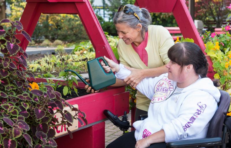 Saint-Vincent Hospital, patient working in garden