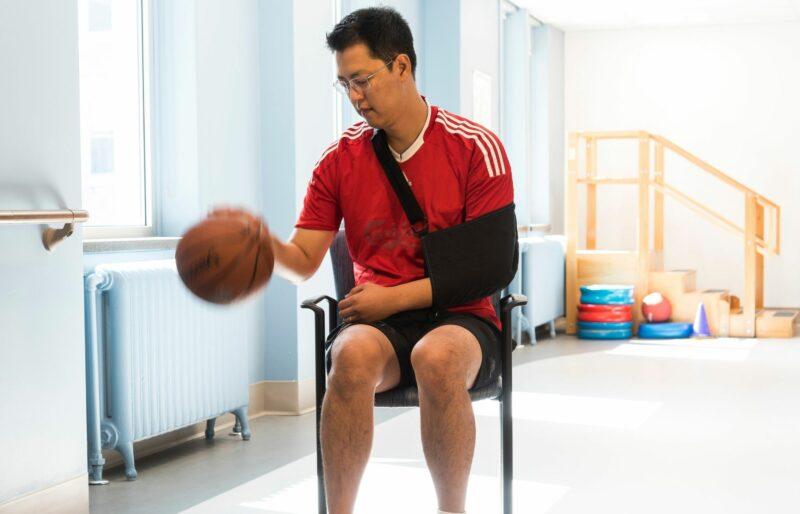 Bruyère Stroke Rehabilitation patient bounces basketball