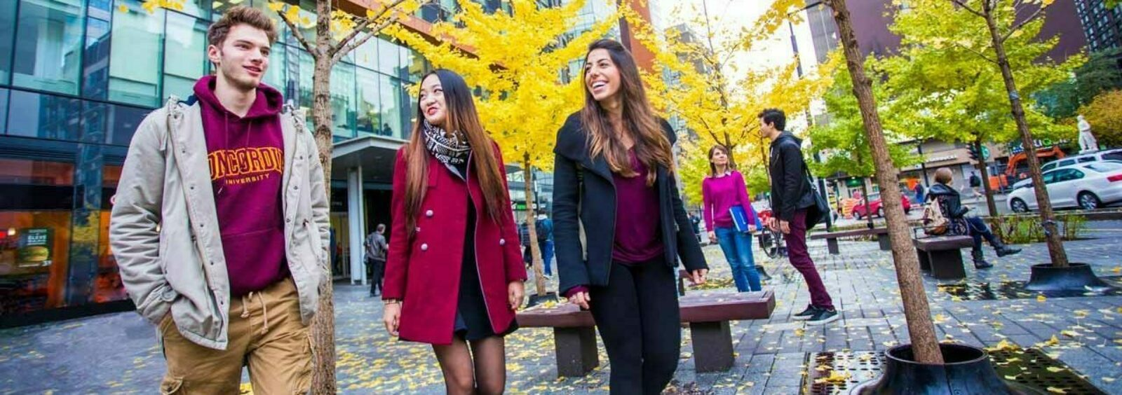 Concordia University students walking through the university's downtown campus in Montreal, Quebec.